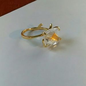 Gold Tone Vine Ring with Stone